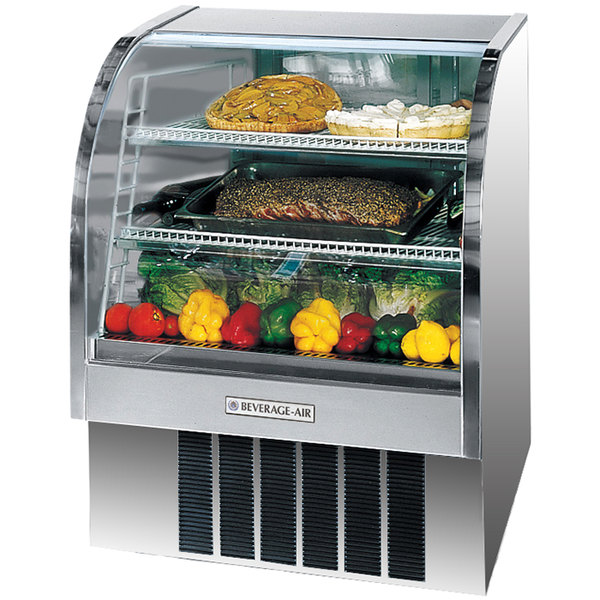 """Beverage Air CDR4/1-S-20 Stainless Steel Exterior Curved Glass Refrigerated Bakery Display Case 49"""" - 18.1 Cu. Ft."""