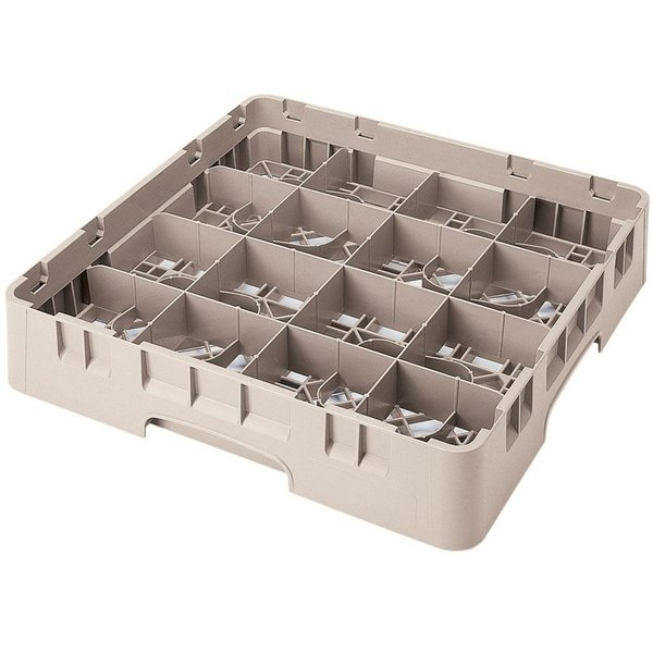 "Cambro 16S1214184 Camrack 12 5/8"" High Customizable Beige 16 Compartment Glass Rack"