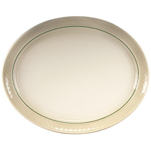 """Homer Laughlin 1430-0353 Green Jade Gothic 13 1/8"""" Off White Oval Platter - 12/Case"""
