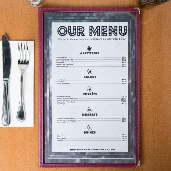 8 1 2 x 14 black menu paper angled marble border 100 pack
