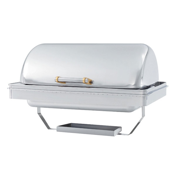 Vollrath 48758 9 Qt. Silverplated New York, New York Drop-In Retractable Dripless Chafer Full Size with Brass Trim