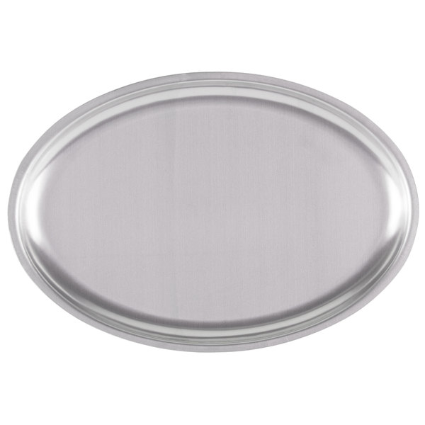 "11 1/2"" x 8"" Oval Stainless Steel Sizzler Platter"