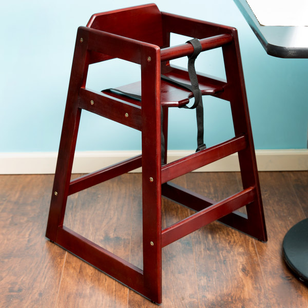Lancaster Table U0026 Seating Unassembled Stacking Restaurant Wood High Chair  With Mahogany Finish