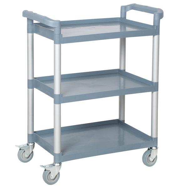 """2 PACK 32/"""" x 16/"""" x 38/"""" Black Plastic 3 Shelf Utility Commercial Bus Cart"""