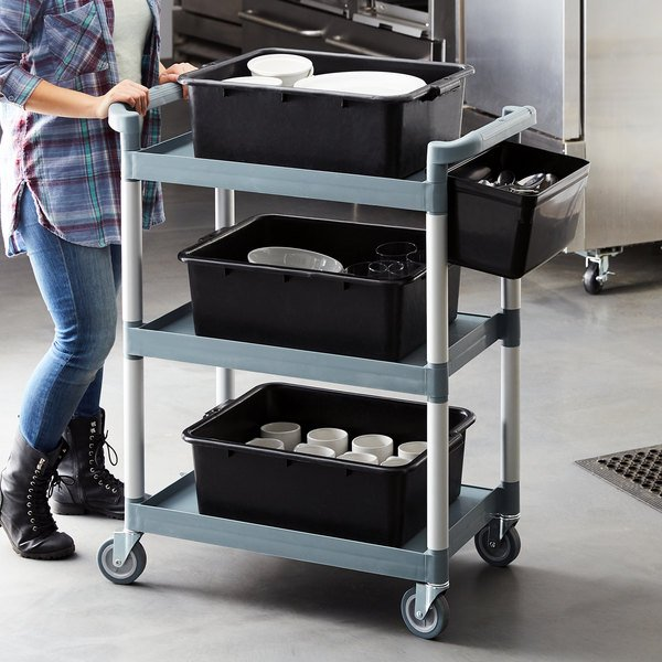 "Choice Gray Utility / Bussing Cart with Three Shelves - 32"" x 16"" Main Image 4"