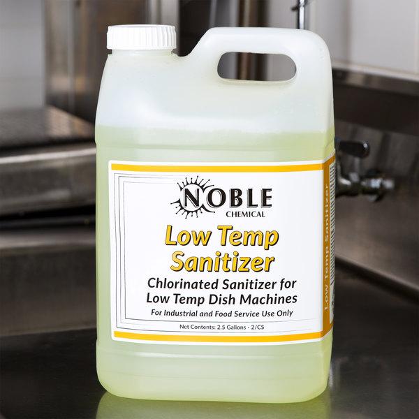 Noble Chemical 2.5 Gallon Low Temp San Dish Washing Machine Sanitizer - Ecolab® 13965 Alternative - 2/Case