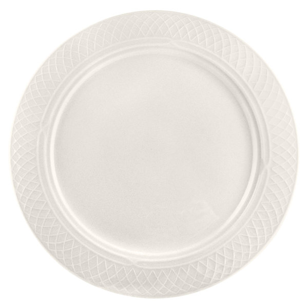 """Homer Laughlin 3407000 Gothic 11 1/8"""" Ivory (American White) China Plate - 12/Case"""