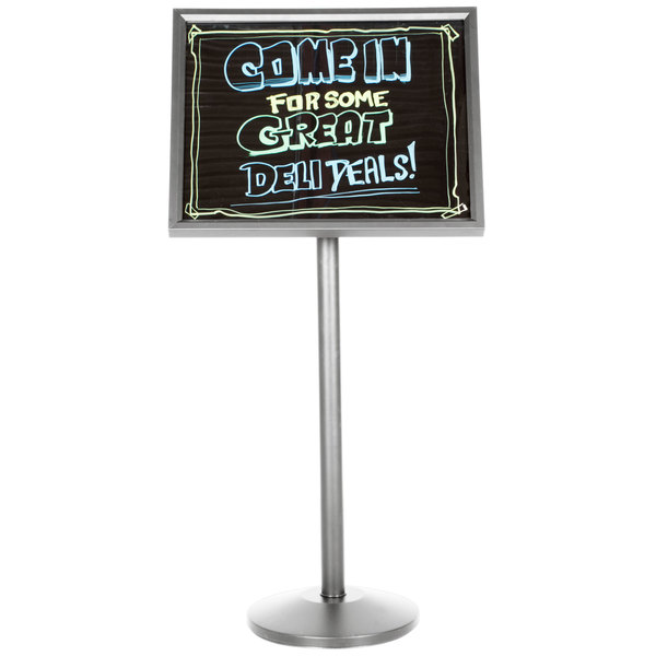 Aarco P-7C Single Pedestal Chrome Frame Black Marker Board with Neon Markers