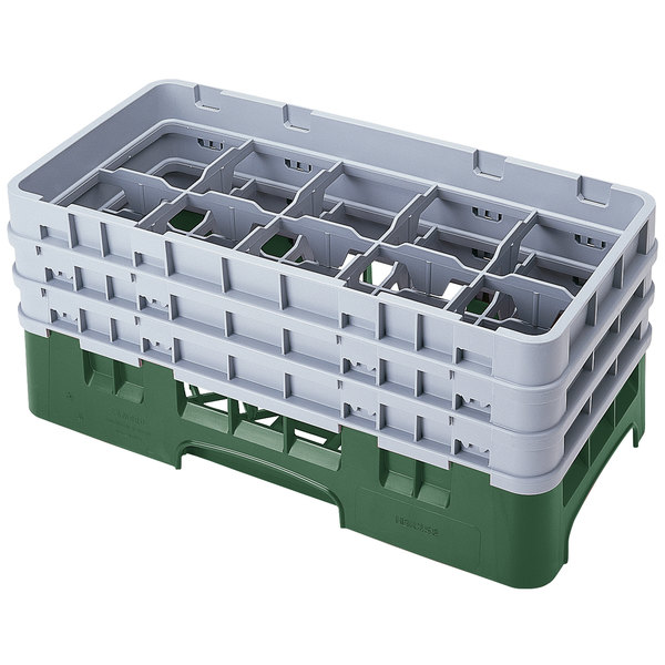 """Cambro 10HS638119 Sherwood Green Camrack 10 Compartment 6 7/8"""" Half Size Glass Rack Main Image 1"""