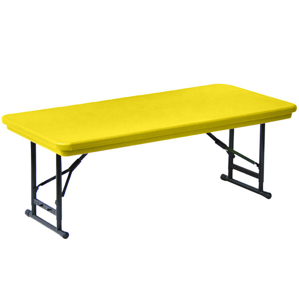 "Correll Folding Table, 24"" x 48"" Plastic Adjustable Height, Yellow - R-Series RA2448S"