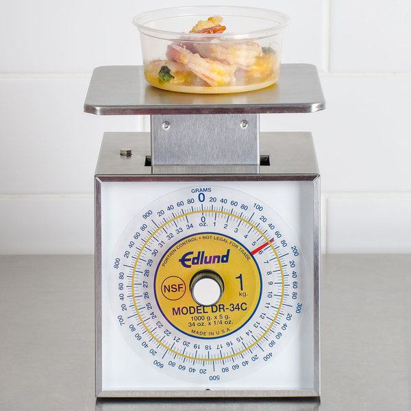 "Edlund DR34-C Combination U.S. and Metric 34 oz. / 1000 g. Portion Scale with 6"" x 6 3/4"" Platform"