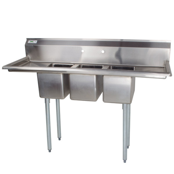 "Regency 66"" 16-Gauge Stainless Steel Three Compartment Commercial Sink with 2 Drainboards - 10"" x 14"" x 12"" Bowls"