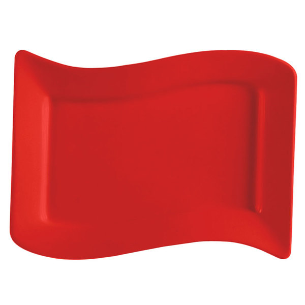"CAC SOH-13R Color Soho 12"" x 8"" Rectangular China Platter - Red - 12/Case"