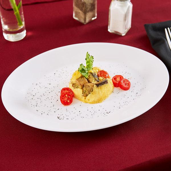 "Arcoroc 25251 Opal Restaurant White 11 3/4"" Oval Platter by Arc Cardinal - 24/Case"