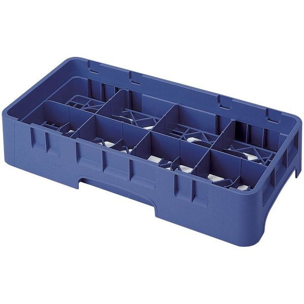 "Cambro 8HS1114186 Navy Blue Camrack Customizable 8 Compartment 11 3/4"" Half Size Glass Rack"