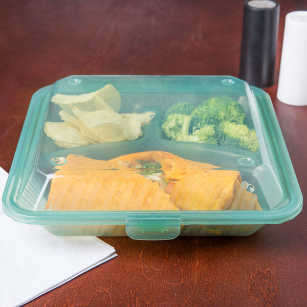 "GET EC-12 9"" x 9"" x 2 3/4"" Jade Green Customizable 3-Compartment Reusable Eco-Takeouts Container - 12/Case"