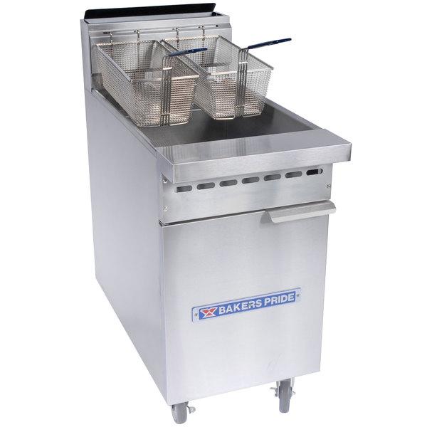 Bakers Pride BPF-4050 Restaurant Series Natural Gas 40-50 lb. Floor Fryer - 114,000 BTU Main Image 1