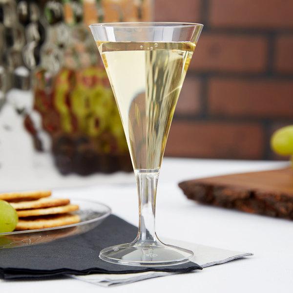Fineline Tiny Temptations 6412-CL 2 oz. 1-Piece Tiny Barware Clear Plastic Round Champagne Flute - 96/Case