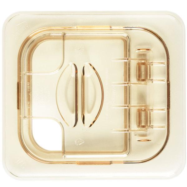 Cambro 60HPLN150 H-Pan™ 1/6 Size Amber High Heat FlipLid with Spoon Notch Main Image 1