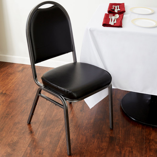 """Lancaster Table & Seating Black Stackable Banquet Chair with 2"""" Padded Seat"""