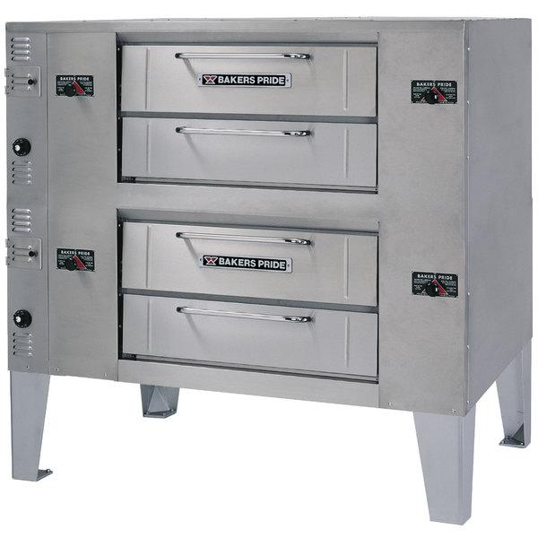 Bakers Pride DS-990 Super Deck Liquid Propane Double Deck Gas Pizza Oven - 140,000 BTU