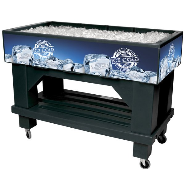 """IRP Black Texas Icer 710 Insulated Ice Bin / Merchandiser with Shelf and Drain 48"""" x 24"""" 140 Qt."""