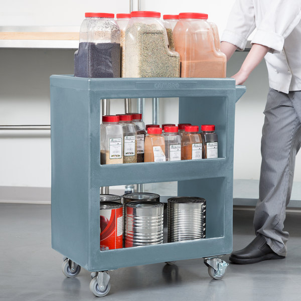 "Cambro BC225401 Slate Blue Three Shelf Service Cart - 28"" x 16"" x 32 1/4"""