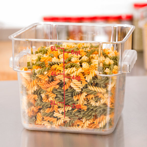 6 Qt. Clear Square Polycarbonate Food Storage Container with Red Graduations