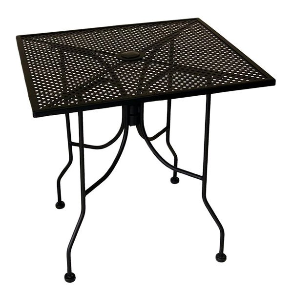 "American Tables & Seating ALM3030 30"" x 30"" Square Top Outdoor Table with Umbrella Hole Main Image 1"