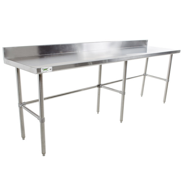 "Regency 24"" x 120"" 16-Gauge 304 Stainless Steel Commercial Open Base Work Table with 4"" Backsplash"