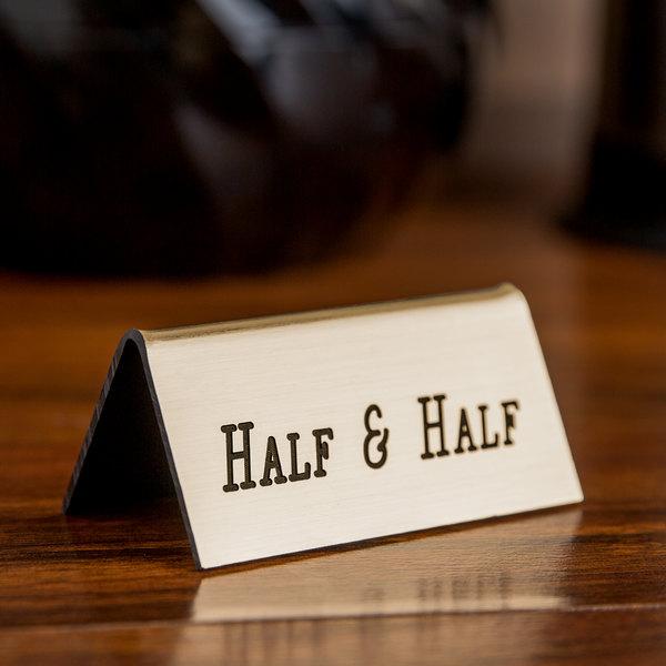 "Cal-Mil 228-8-011 Gold Half & Half Beverage Tent - 3"" x 1"" x 1 1/2"""