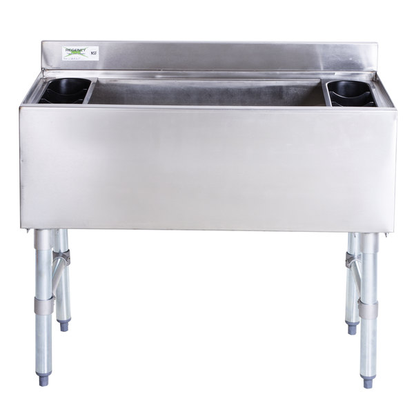 """Regency 18"""" x 36"""" Underbar Ice Bin with 7 Circuit Post-Mix Cold Plate and Bottle Holders - 119 lb."""