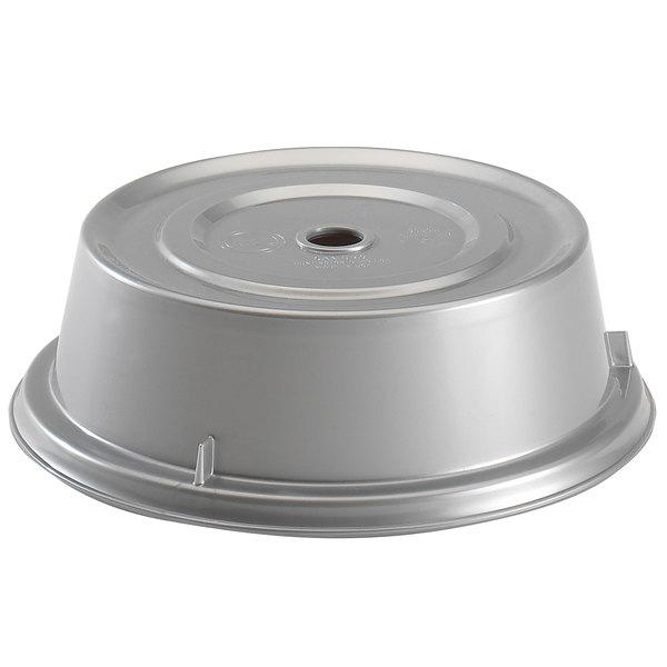 "Cambro 901CW486 Camwear Camcover 9 5/16"" Silver Metallic Plate Cover - 12/Case Main Image 1"