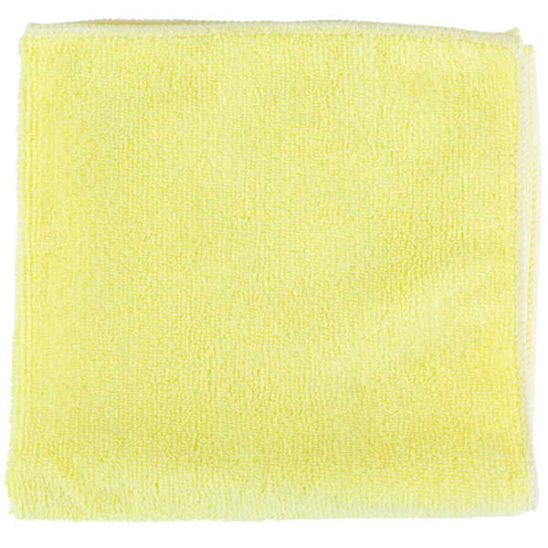 Unger ME40J SmartColor MicroWipe 16 inch x 16 inch Yellow UltraLite Microfiber Cleaning Cloth - 10/Pack