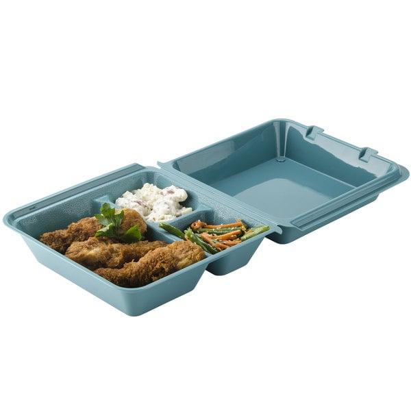 "GET EC-01 9"" x 9"" x 3 1/2"" Aqua Customizable 3-Compartment Reusable Eco-Takeouts Container - 12/Case"