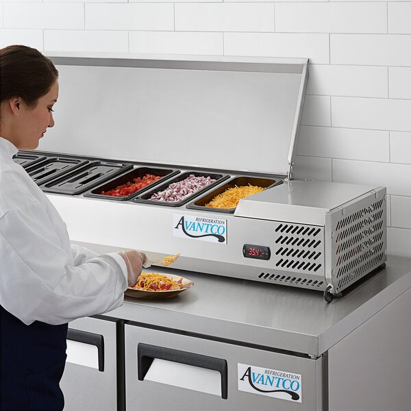 "Avantco CPT-60 59"" Countertop Refrigerated Prep Rail Main Image 5"