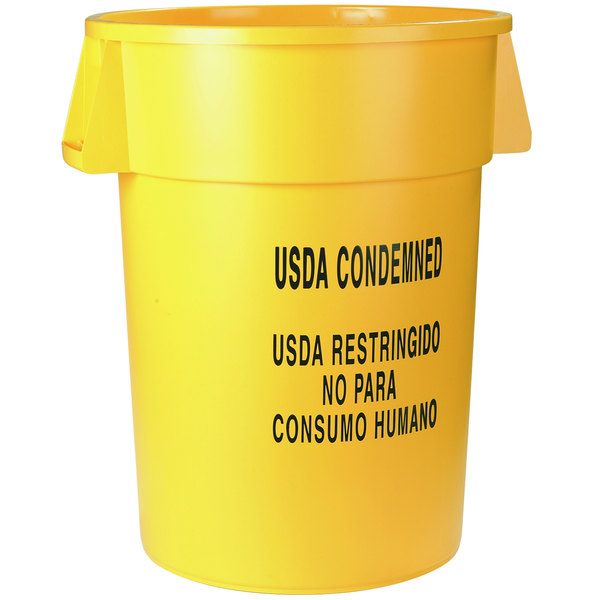 "Carlisle 341020USD04 Bronco 20 Gallon Yellow Round ""USDA CONDEMNED"" Trash Can"