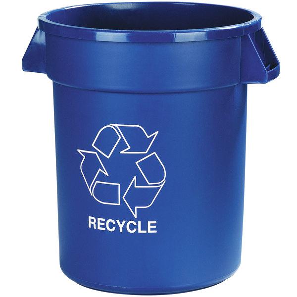 "Carlisle 341032REC14 Bronco 32 Gallon Blue Round ""RECYCLE"" Trash Can"