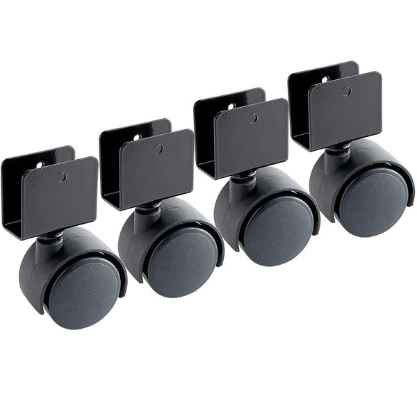 "Oklahoma Sound 2CS Black 3 1/2"" Casters for 222 Full Floor Lectern - 4/Pack Main Image 1"