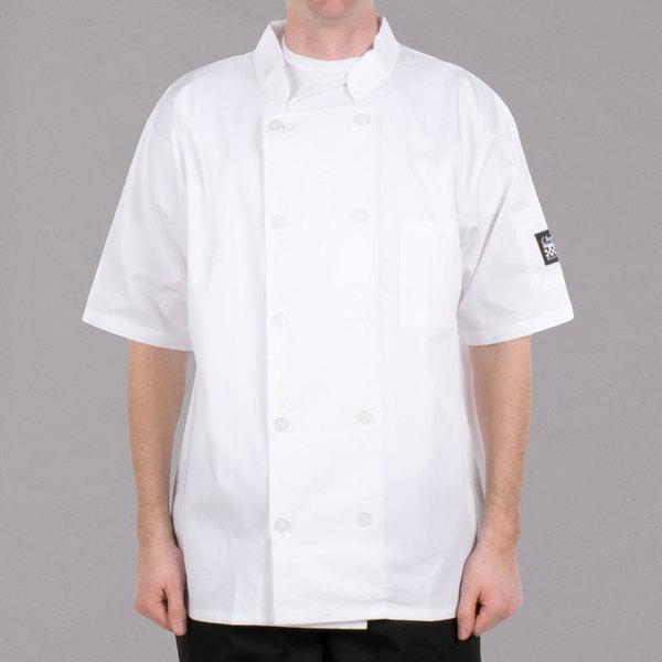 Chef Revival Bronze J105 White Unisex Customizable Short Sleeve Chef Coat - M Main Image 1
