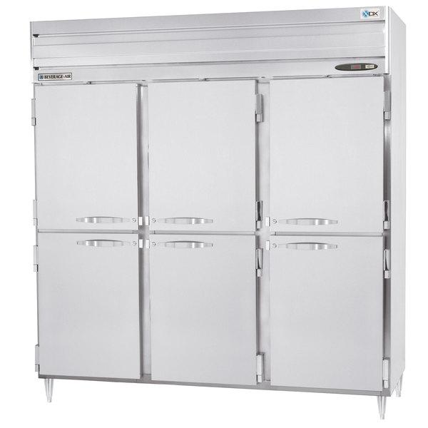 "Beverage-Air PRD3-1AHS 78"" Stainless Steel Solid Half Door Pass-Through Refrigerator"