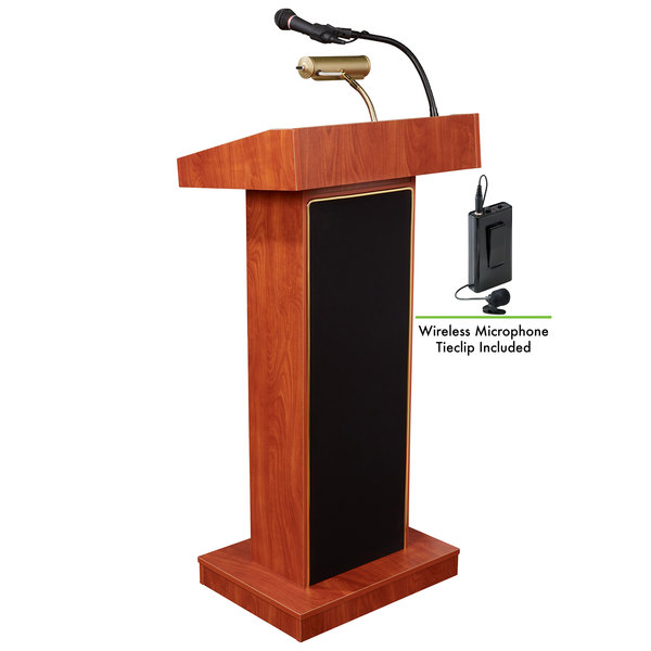 Oklahoma Sound 800X-CH/LWM-6 Cherry Finish Orator Lectern with Sound and Wireless Tie-Clip Microphone