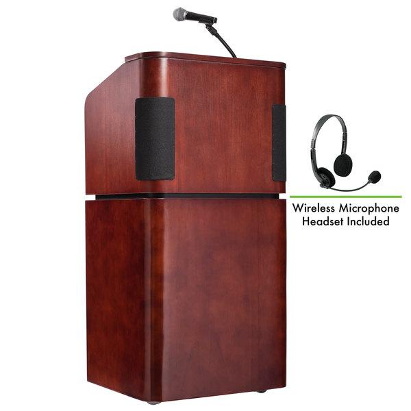 Oklahoma Sound 950/901-MY/WT/LWM-7 Mahogany on Walnut Finish Veneer Combination Floor Lectern with Sound and Wireless Headset Microphone