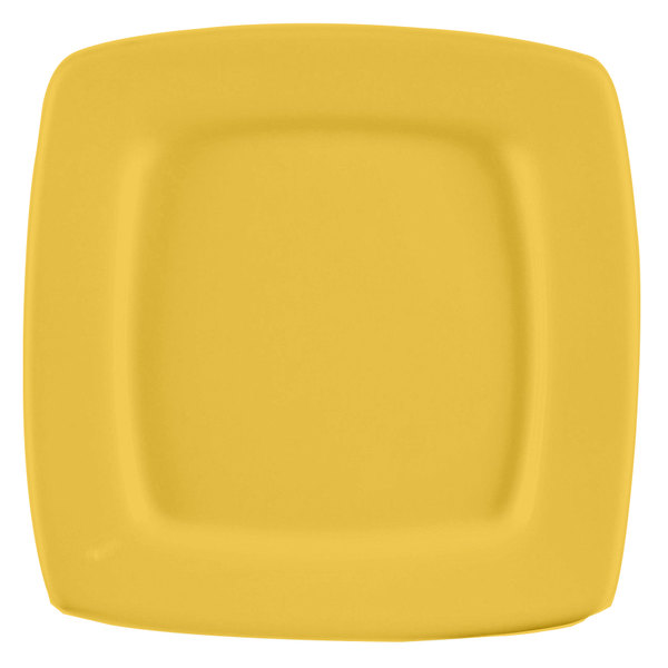 """CAC R-S8QYW Clinton Color 8 7/8"""" Yellow Square in Square Plate - 24/Case Main Image 1"""