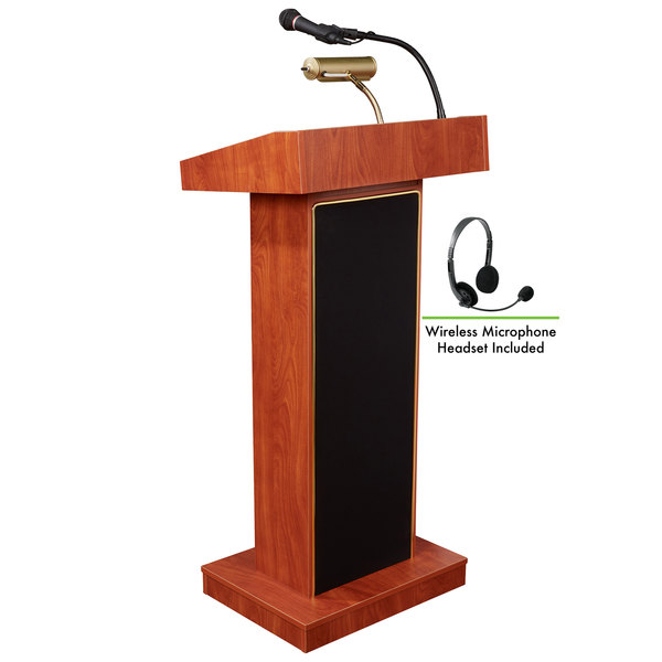 Oklahoma Sound 800X-CH/LWM-7 Cherry Finish Orator Lectern with Sound and Wireless Headset Microphone