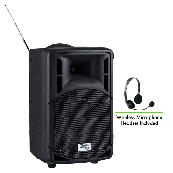 Oklahoma Sound PRA-8000/PRA8-7 Pro Audio Bluetooth Wireless Portable PA System with Wireless Headset Microphone - 40W Main Image 1