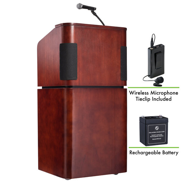 Oklahoma Sound M950/901-MY/WT/LWM-6 Mahogany on Walnut Finish Veneer Combination Floor Lectern with Sound, Wireless Tie-Clip Microphone, and Rechargeable Battery