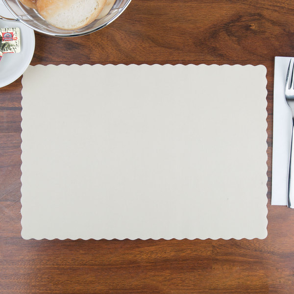 """Hoffmaster 310522 10"""" x 14"""" Ecru / Ivory Colored Paper Placemat with Scalloped Edge - 1000/Case"""