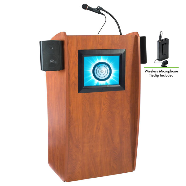 Oklahoma Sound 612-S/LWM-6 Wild Cherry Finish Vision Lectern with LCD Screen, Sound, and Wireless Tie-Clip Microphone