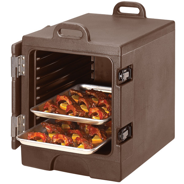 Cambro 1318MTC131 Camcarrier Dark Brown Insulated Tray / Sheet Pan Carrier - Front Load, Holds Half Size Pans